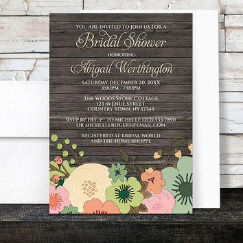 Floral Wood Bridal Shower Invitations - Rustic Orange Teal Pink and Green Flowers over Brown - Printed Invitations