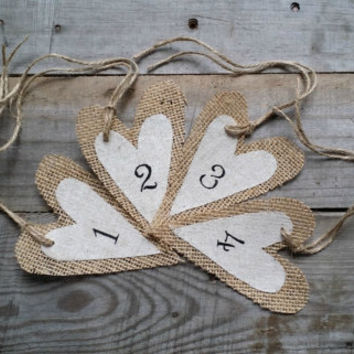Burlap Heart Table Number, Rustic Wedding Decor, Table Number Tags, Wedding Table Decor