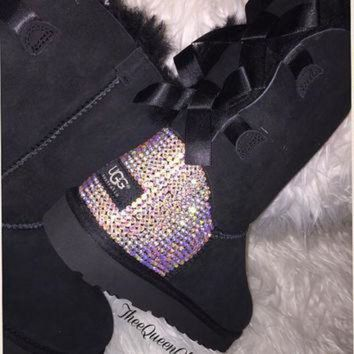 CREY1O Crystal AB encrusted Bailey Bow Uggs