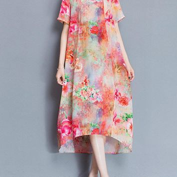 Women Floral Printed Short Sleeve Mid-Long Dresses