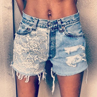 Lace Front Vintage High Waisted Distressed Shorts