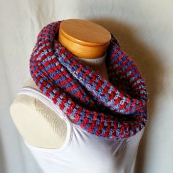 Crochet alpaca scarf Fall cowl Red and denim blue stripes Men's women's unisex neck long loop wrap