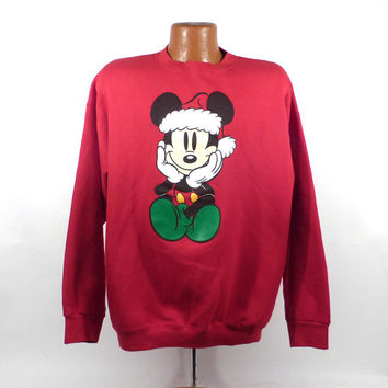 Ugly Christmas Sweater Vintage Sweatshirt Mickey Mouse Party Xmas Tacky Holiday XL