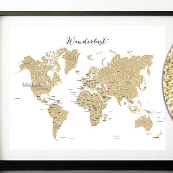 "20x16"" Printable world map, golden glitter world map with countries, country names, Wanderlust quote map, gold travels map - map039 006"