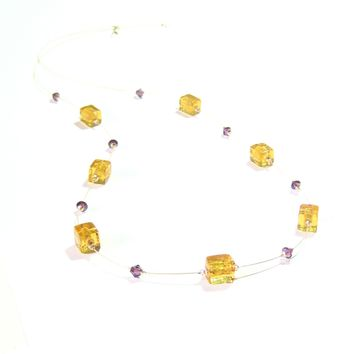 Murano Glass Topaz Amber Cube long Gold Necklace, Amber Illusion Necklace