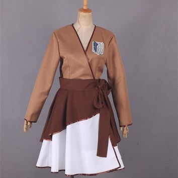 Cool Attack on Titan Anime  Levi Eren Cosplay Costume Outfit Female Version Kimono Lolita Women Halloween Party Dress Custom-made AT_90_11