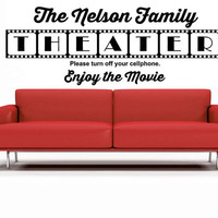 Theater Room, Personalized, Customize, Movie, Theatre, Decal, Vinyl, Sticker, Wall Art, home, bedroom, nursery, kid's decor