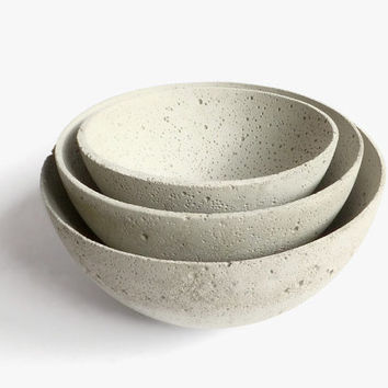 Concrete Bowl Set of 3 Home Decor Urban Industrial Modern Decor