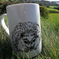 Hand drawn hedgehog mug by Mr Teacup by MrTeacup on Etsy