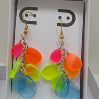 Rainbow dangle earrings with silver and gold tone Spring earrings Set #1