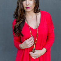 Long Sleeve V-Neck Piko Top in Red