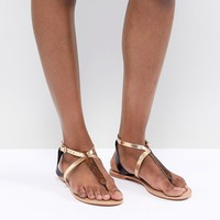 ASOS DESIGN Forbes Leather Flat Sandals at asos.com