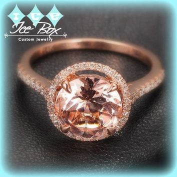 Morganite Engagement Ring 2.3ct Round in a 14k Rose Gold Diamond Halo setting