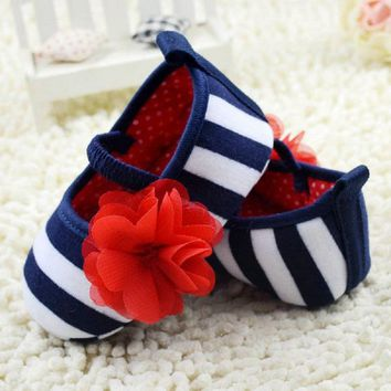 Toddler Girls Flower Crib Shoes Soft Stripes Elastic Casual Party Baby Shoes