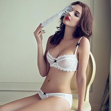 fashion summer sexy lace white ultra-thin bra breathable gauze deep V-neck women's push up underwear set