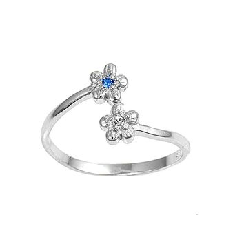 Sterling Silver Flower 7MM  Toe Ring/ Knuckle/ Mid-Finger CZ Sapphire CZ