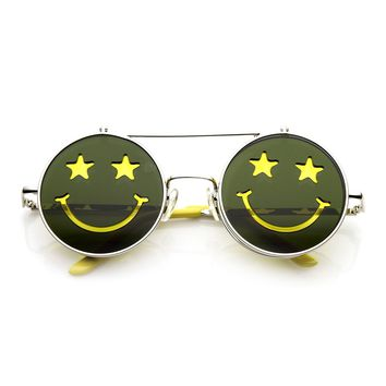 Happy Colorful Lens Happy-Face Etched Flip Up Sunglasses