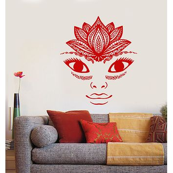 Vinyl Wall Decal Lotus Flower Yoga Studio Meditation Room Girl Face Stickers (3185ig)