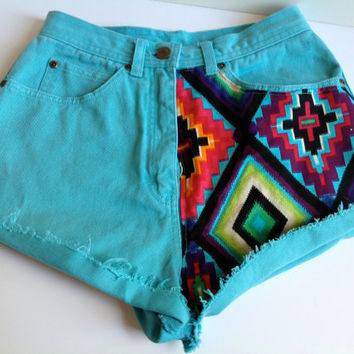 ZTA High Waisted Shorts Aztec Geometric Embroidered by suznews