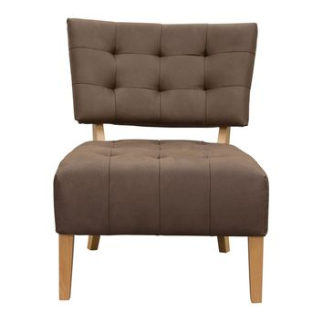 Oliva Low Profile Accent Chair in Dark Brown Fabric with Wood Leg