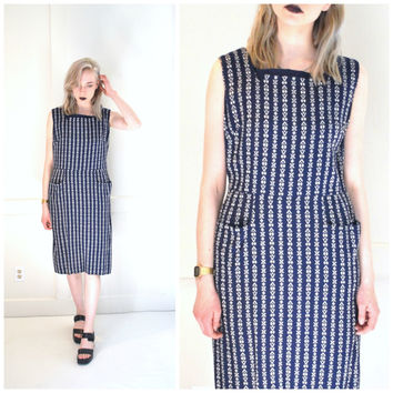 1940s vintage house dress navy blue and white embroidery dress