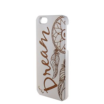 White Wood Phone Case - Dream Script with Dream Catcher - iPhone 5/5s/SE, 6, 7