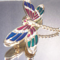 Vintage Dragonfly Brooch Pin Enamel Rhinestone Critter Jewelry Gold Tone Fashion Accessories For Her
