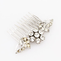 Vintage Silver Rhinestone Hair Comb- Bridal, Wedding, Prom, Pageant