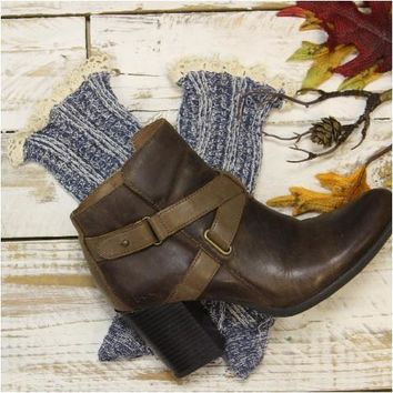 BOOTIE lace boot socks - denim