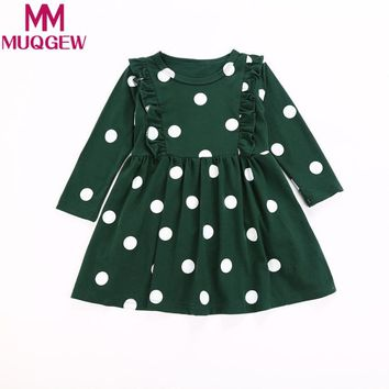 MUQGEW Toddler Kids Baby Girls Long Sleeve Fold Dot Print Dress Outfit Clothes Dress toddler girls clothing sets kid Spring