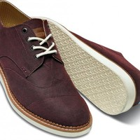 Burgundy Aviator Twill Men's Brogues