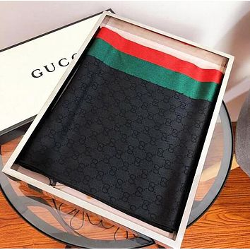 Gucci Fashion Women Men Classic Stripe Silk Accessories Sunscreen Cape Scarves Scarf Black