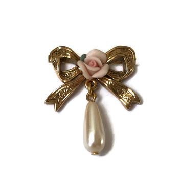 Vintage Pin with Pink Rose, Gold Tone Bow and Dandling Pearl