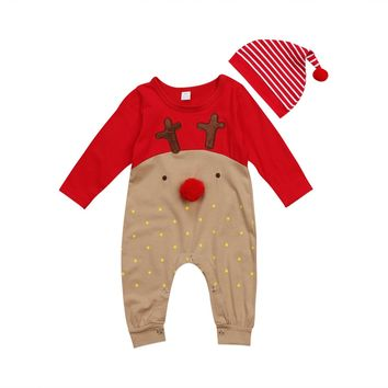 Cute Christmas Romper Jumpsuit+Hat Set Newborn Baby Boy Girl Xmas Reindeer Romper Playsuit Clothes Outfit