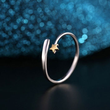 Fashion 925 Sterling Silver Gold Star Opening Adjustable Couple Rings Gifts = 5612390849