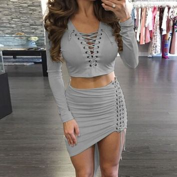 Women's Two Piece Set Deep V-Neck Lace Up Asymmetric Crop Top & Skirt