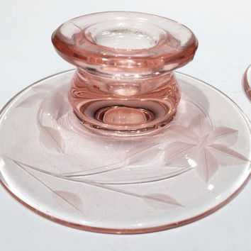 Pair of Pink Depression Glass Etched Candle Holders, (2) Pink Etched Candlestick Holders, Set of Pink Depression Glass Candlestick Holders,
