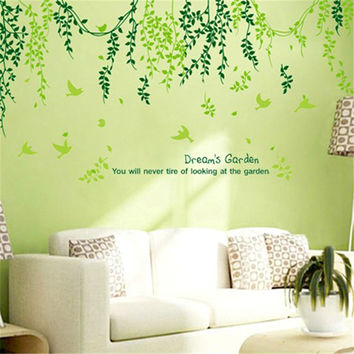 Plant Modern Wall Sticker Green Leaves Curtain Wall Stickers Home Decor Living Room Wall Decoration Home Decor
