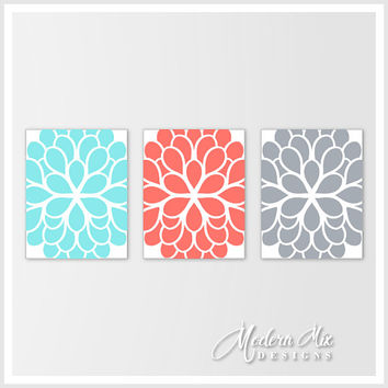 Flower Wall Decor Aqua Coral Gray Dahlia Flower Canvas Print Trio Bedroom Wall Art Bathroom Art Home Wall Art Bedroom Decor M 002 05