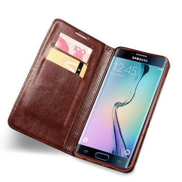 Retro Card Holder Flip Leather Phone Cover Case For Samsung Galaxy S7 S7edge S6 S6 edge S6edgeplus Thin Flipcover Flipcase