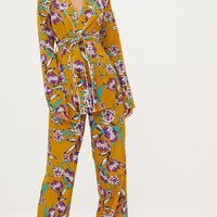 Mustard Contrast Piping Floral Wide Leg Trousers