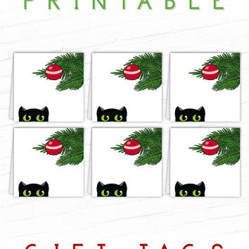 Cat Gift Tags, Black Cats, Printable Christmas Gift Tags, Xmas Gift Tags, Party Favor Tags, Holiday Gift Labels, Hang Tag, To From Gift Tags