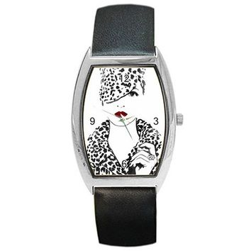 "Artistic Black and White "" Women in Leopard w/ Red Lips"" Barrel Watch Leather"