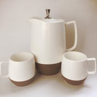 Vintage 1960's Bopp Decker Varcon coffee tea carafe with lid and two mugs / cups brown and cream set