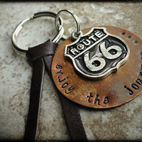 Enjoy The Journey Route 66 Copper Charm Hand Stamped Key Chain Key Fob Key Ring
