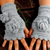Fingerless Gloves, Knitted Gloves, Grey Knitted Gloves, Women gloves, Winter Gloves, Gloves Handmade, Gift Ideas,Jasminejasmine