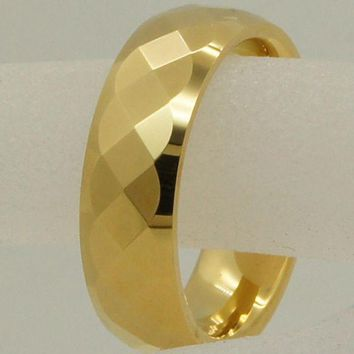 DCCKU62 6mm geometrical facet champagne gold plating hi-tech scratch proof wedding tungsten ring 1pc