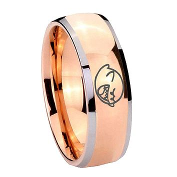 8MM Rose Gold Dome Mario Boo Ghost 2 Tone Tungsten Carbide Laser Engraved Ring