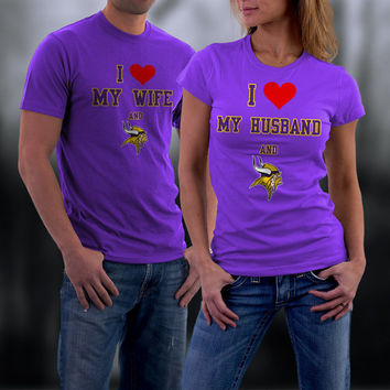 Vikings,Minnesota Vikings Couples Shirt,  Vikings Matching Couples tshirts,I love my Husband and the Vikings Shirt,Wedding T Shirts
