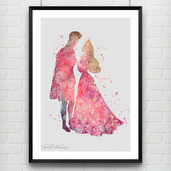 Princess Aurora & Prince Philip Sleeping Beauty Disney Watercolor Art Print, Baby Nursery Home Decor, Not Framed, Buy 2 Get 1 Free! [No. 77]